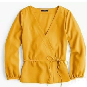 J.Crew yellow gold faux wrap draped crepe top new